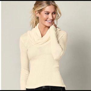 Venus Women's Cowl Neck Sweater Cream Size M.